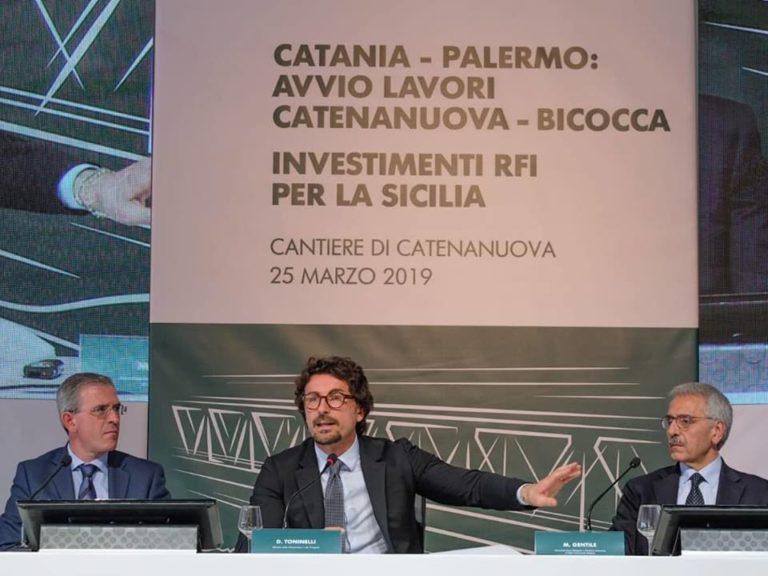 """Inaugurati i lavori per il doppio binario Palermo – Catania, Toninelli: """"Significa prima di tutto normalità per i siciliani"""""""