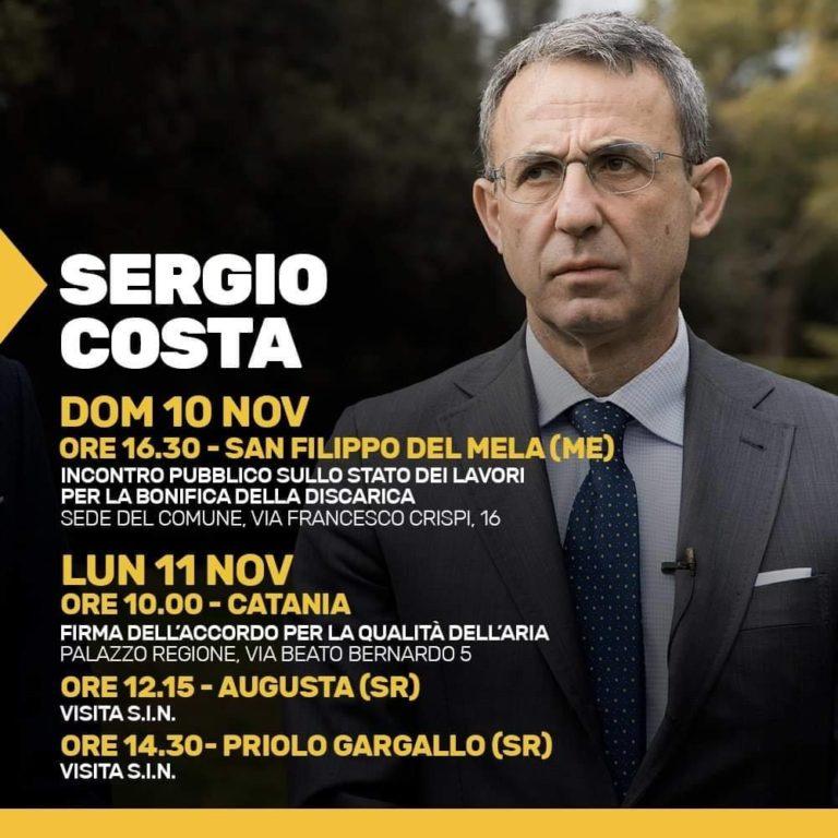 Ambiente: il ministro Costa torna in Sicilia. Domenica 10 novembre a San Filippo del Mela