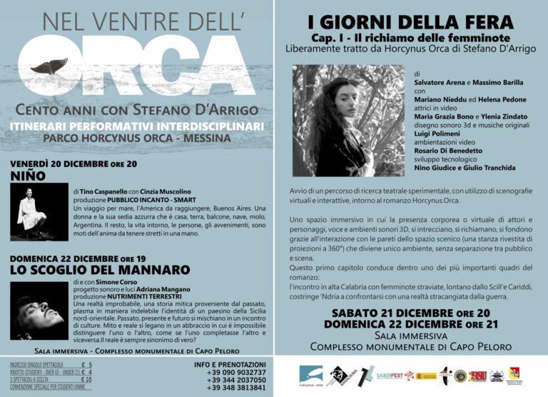 """""""Nel ventre dell'Orca"""", si conclude il progetto in omaggio a Stefano D'Arrigo. Ecco gli eventi in programma per questo weekend"""
