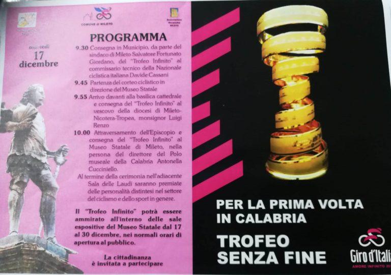 Trofeo senza fine del Giro d'Italia: dal 17 dicembre in esposizione al Museo di Mileto