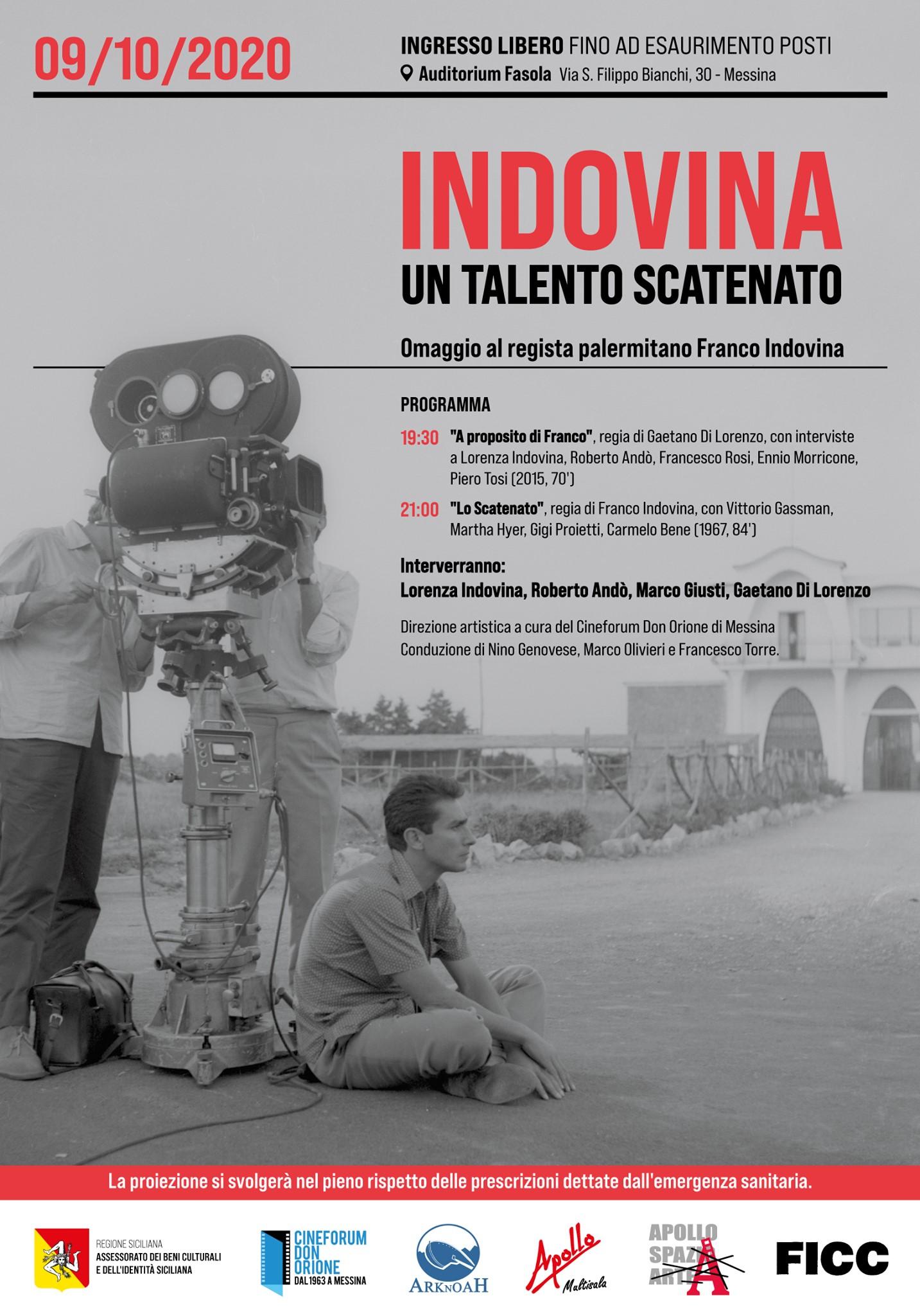 """Alla """"Fasola"""" di Messina film e documentario in omaggio al regista palermitano Franco Indovina"""