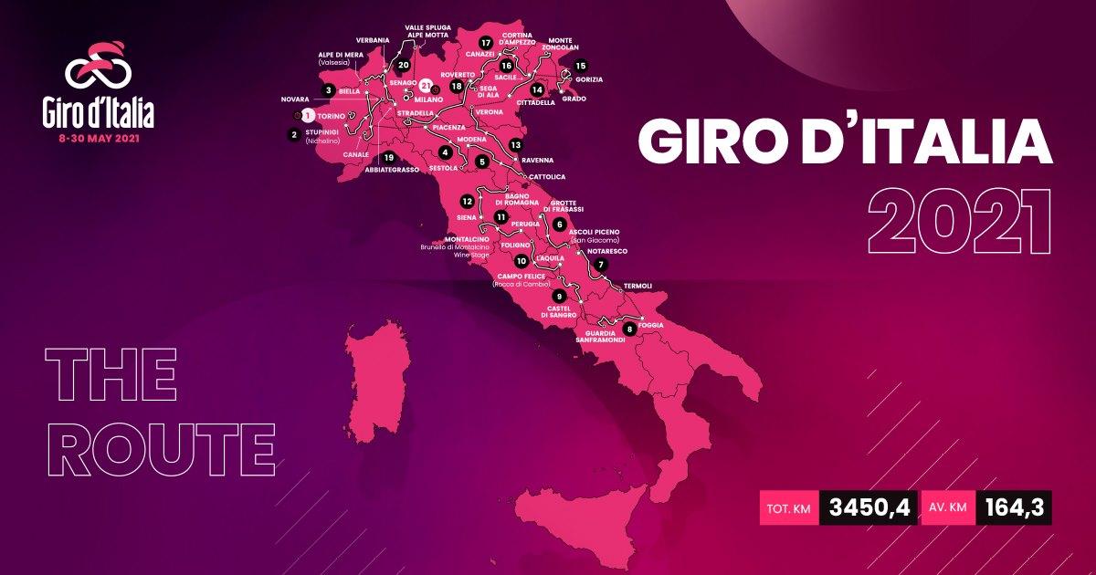 Giro d'Italia 2021, ecco tutto il programma dalle tappe dall'8 al 30 maggio