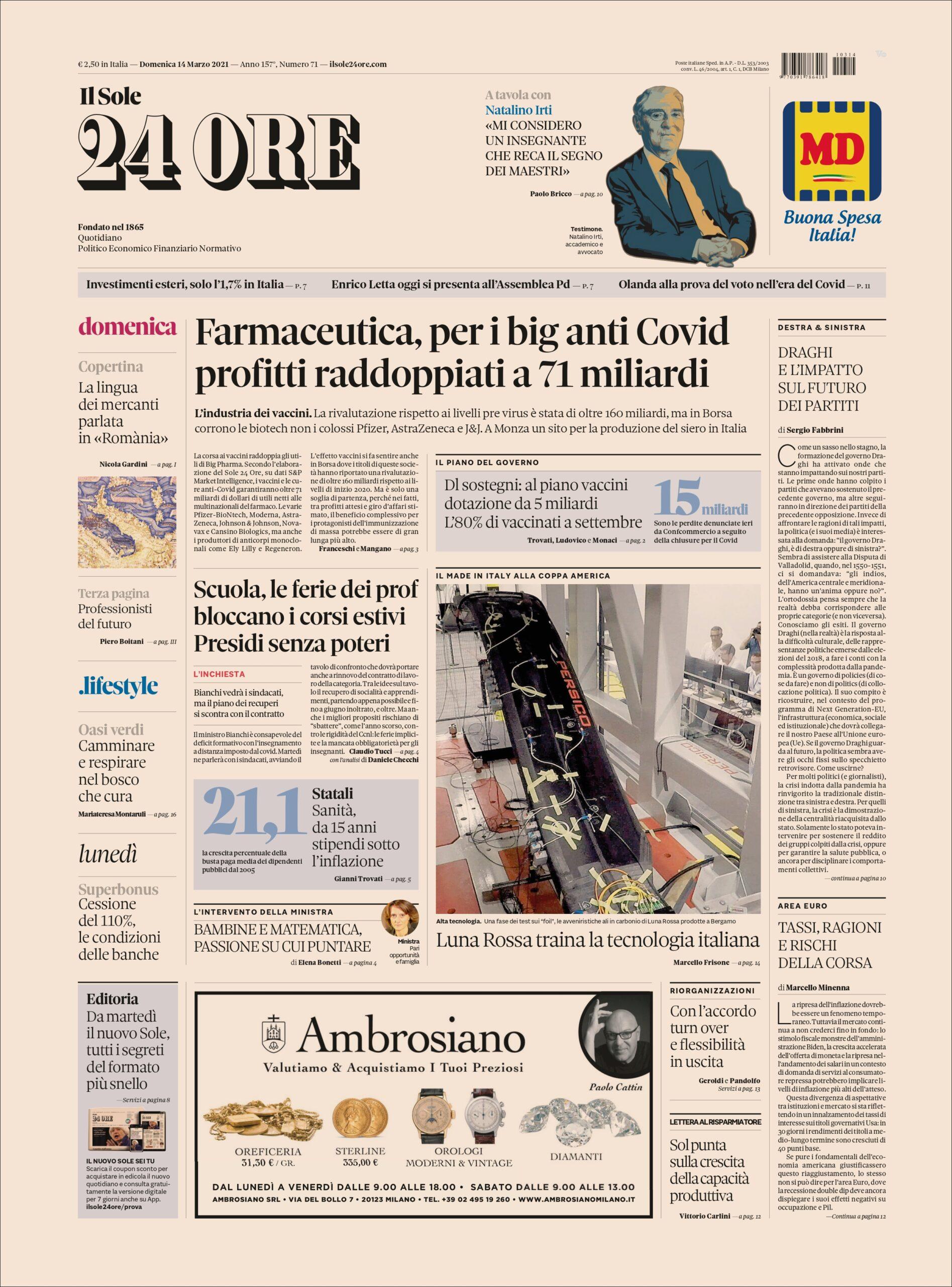 Farmaceutica, per i big anti Covid profitti raddoppiati a 71 miliardi